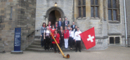 Alphorn with Swiss Tourism team, Cardiff Castle