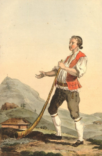 Herdsman, hand-coloured etching. Marquard Wocher, Schaffhausen, c.1785