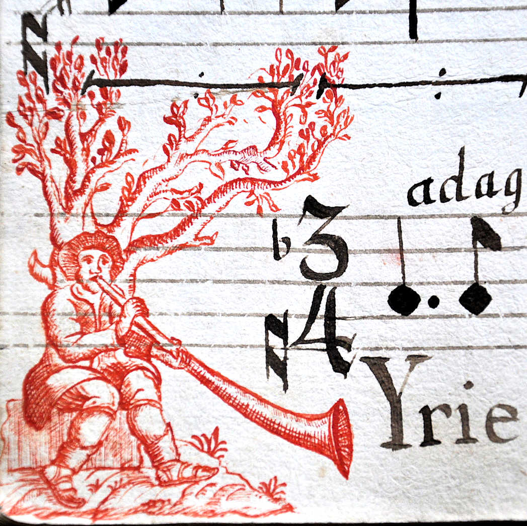 The initial letter K of the word Kyrie is created by this delightful scene, 17th century antiphonary, Horb am Neckar