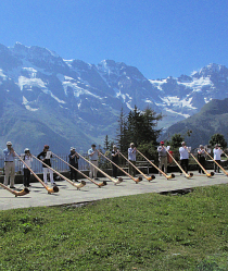 Murren alphorn course, Breithorn Range in the background. Bernese Oberland, Switzerland