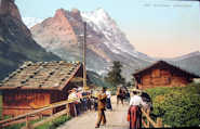 Postcard: Herr Burger creates echoes for the tourists, Grindelwald, around 1910