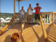 Alphorn trios on a high tower, Fehraltdorf Highland Games, outside Zurich, Switzerland