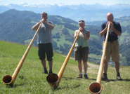 With Mike and Martin on Hornli above Zurich, with the Bernese Alps in the background
